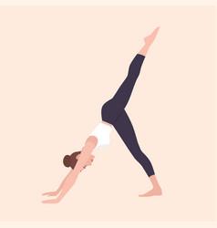 yogi woman in eka pada adho mukha svanasana or vector image