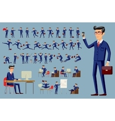 young cartoon businessman in blue suit vector image