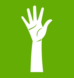 Hand icon green vector