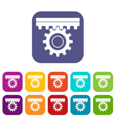 One gear icons set flat vector