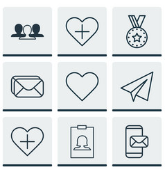 set of 9 social network icons includes add to vector image vector image