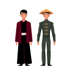 two chinese men in traditional national costumes vector image vector image