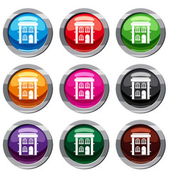 two-storey residential house set 9 collection vector image