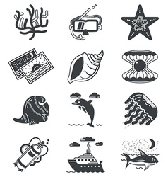 Black monochrome marine icons vector image