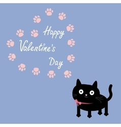 Cat and paw print heart frame template flat vector