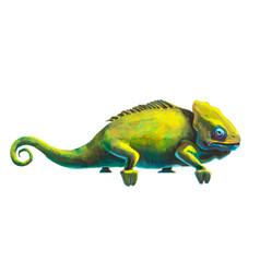 cute green chameleon on white vector image vector image
