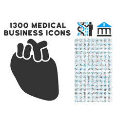 heart organ icon with 1300 medical business icons vector image vector image
