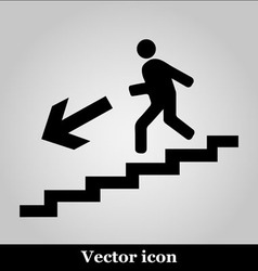 Man on Stairs going down symbol on grey background vector image