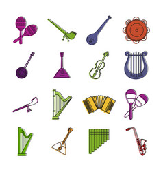 musical instrument icon set color outline style vector image
