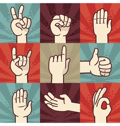 set of hands and gestures - in retro comic style vector image