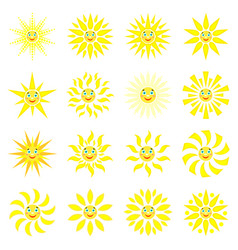 smiling sun with rays of different shapes set of vector image