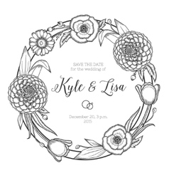 Vintage floral wreath Wedding invitation vector image vector image