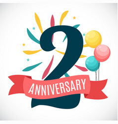 anniversary 2 years template with ribbon vector image