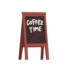 blackboard with inscription coffee time wooden vector image