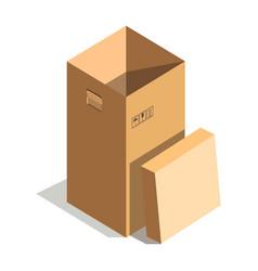 empty high cardboard box vector image vector image