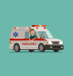 happy medic goes on car ambulance service vector image vector image
