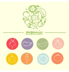 logo design template with vegetable icons vector image