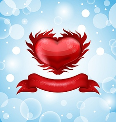 Red heart on blue sky for Valentines day vector image