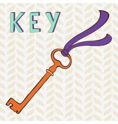 Retro key with ribbon vector image vector image