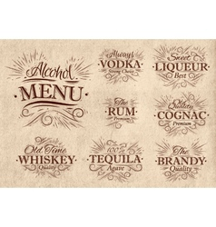 Set alcohol menu retro vector image