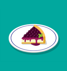 blueberry cheese cake in 3d cartoon style vector image