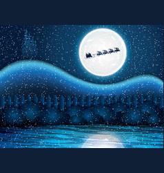 santa claus rides in a reindeer sleigh vector image vector image