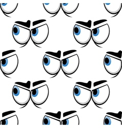 Seamless cartoon blue eyes pattern vector image
