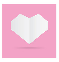 valentine love white heart paper craft in frame vector image vector image
