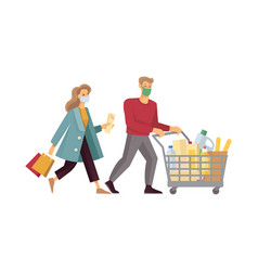 a young couple with a shopping cart buys food vector image