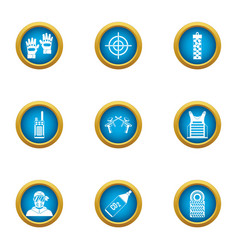 Airsoft icons set flat style vector