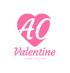 Ao letter logo design with heart icons love vector