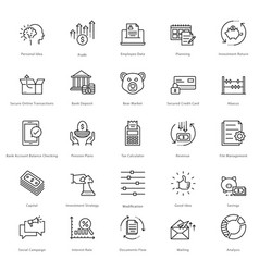 Banking and finance line icons 20 vector