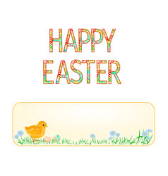 Banner happy easter easter chicks and easter eggs vector