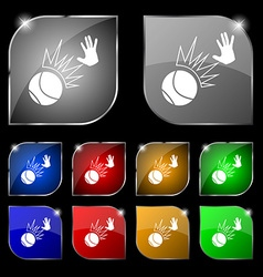 Basketball icon sign Set of ten colorful buttons vector image
