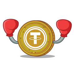 Boxing tether coin character cartoon vector