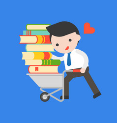 businessman carry a pile of book with cart world vector image