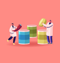 Canned food concept workers canning factory vector