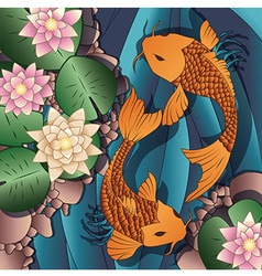 Carp Koi fish swimming in a pond with water lilies vector image