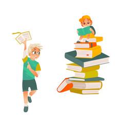 cartoon boys reading book set vector image