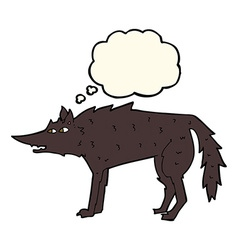 cartoon wolf with thought bubble vector image