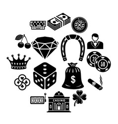 casino icons set simple style vector image