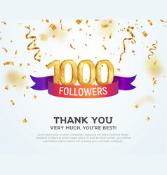 celebrating 1000 followers with color bright vector image