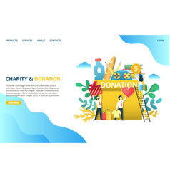 charity and donation website landing page vector image