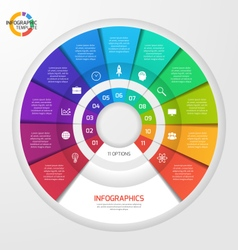 Circle infographic template 11 options vector