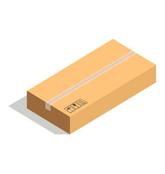 Closed paper cardboard box isolated on white vector
