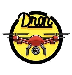 Color vintage Quadrocopter emblem vector