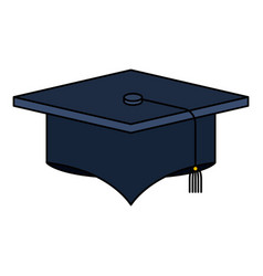 Colorful silhouette image graduation cap vector