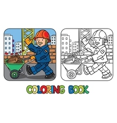 Coloring book of funny construction worker vector image