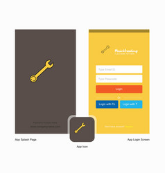 company wrench splash screen and login page vector image