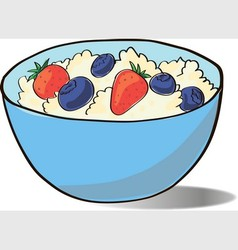 cottage cheese in a blue cup vector image